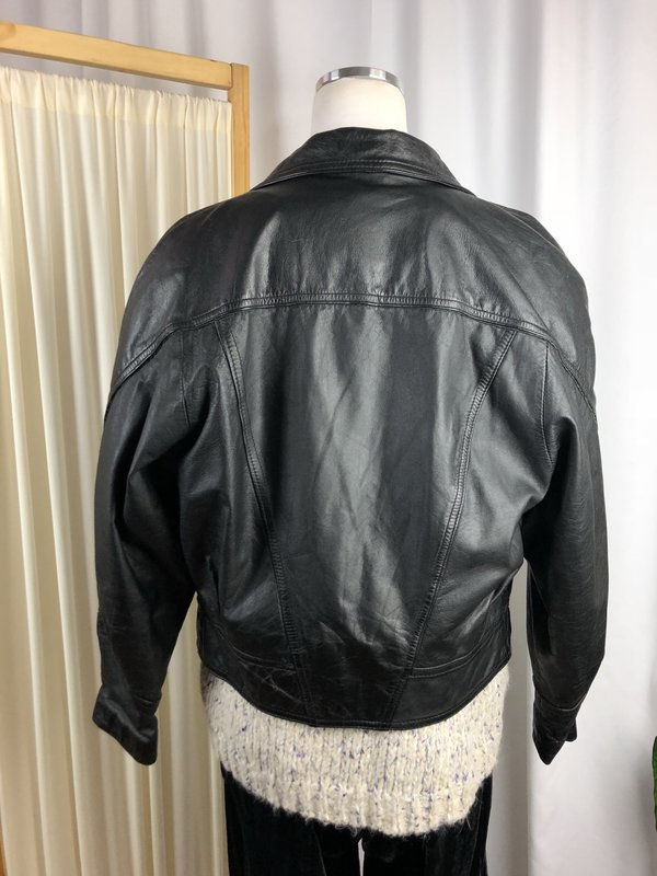 Vintage Crop Leather Moto Jacket