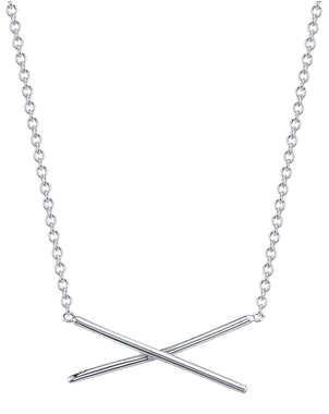 Gabriela Artigas 14k White Gold Subtle X Necklace