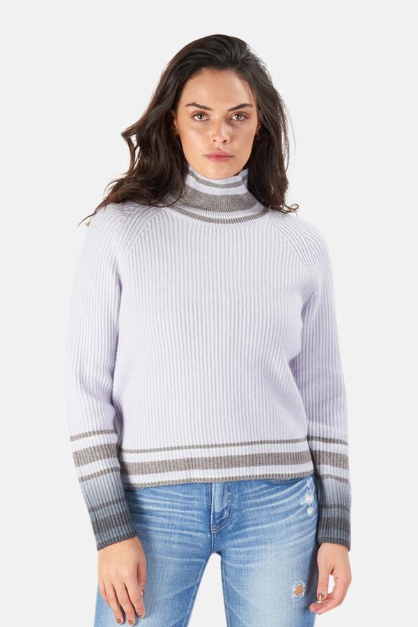 Naadam Dip Dye Striped Turtleneck Sweater - Frost Grey