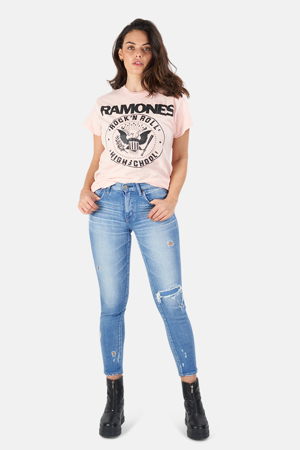 MadeWorn Rock Ramones Rock n Roll High School T-Shirt - Pink Pigment