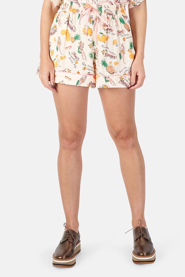 Zimmermann Riders Draw Waist Shorts - Beach Print