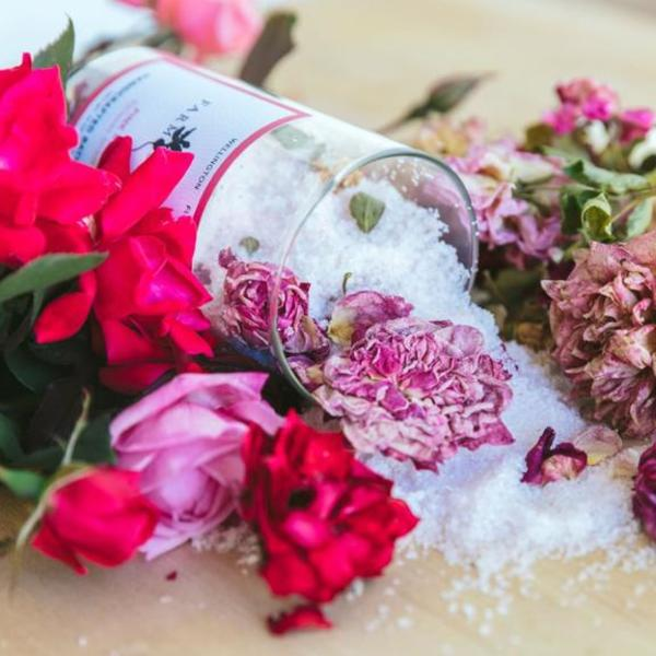 Farm Stand Pink Rose and Butterfly Grey Bath Salts
