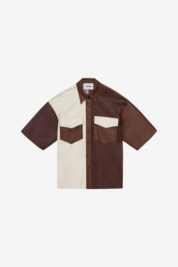Nanushka Roque Oversized Shirt - Brown Patch