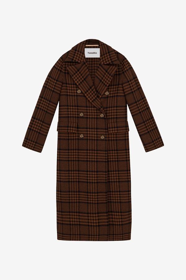 Nanushka Lana Tailored Coat - Navy/Rust Check