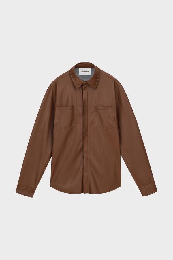 Nanushka Declan Vegan Leather LS Shirt - Rootbeer