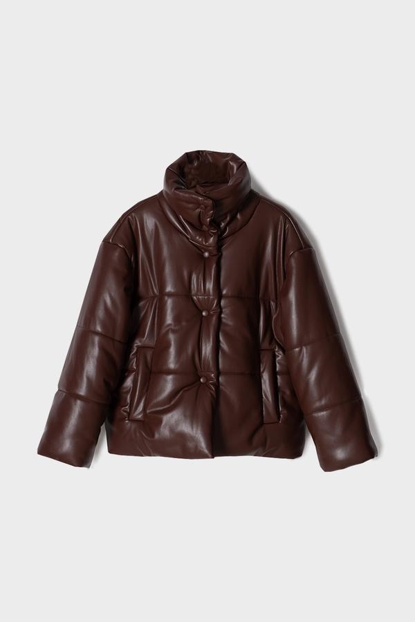 Nanushka Hide Vegan Leather Puffer Jacket - Plum Chutney