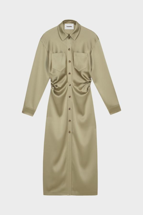 Nanushka Kinsley LS Shirt Dress - Sage
