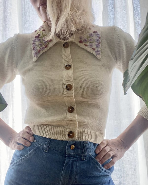 Tach Clothing Cisne Embroidered Sweater - Cream