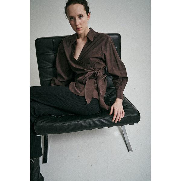 Sayaka Davis Wrap Shirt - Black