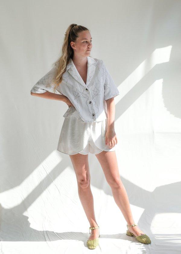 OhSevenDays Fiorenza cropped sleeve shirt - white