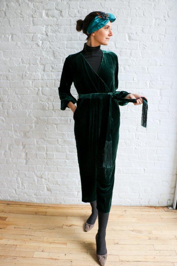 Whistles Thea Wrap Velvet Jumpsuit, Size 6