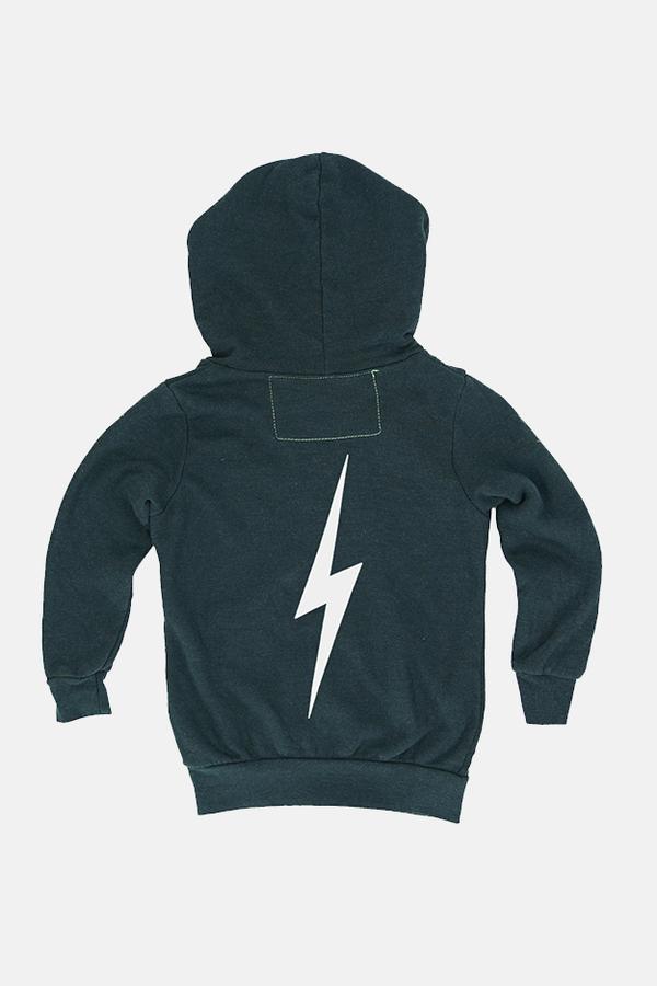 Kids Aviator Nation Bolt Print Zip Hoodie Sweater - Charcoal/White