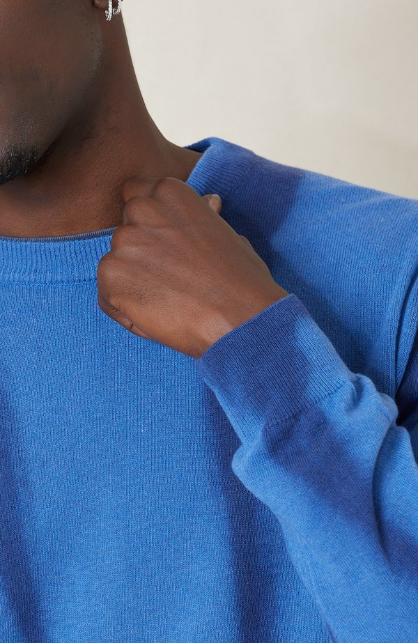 PRESIDENTS Shibori Recycled Cash Crew Sweater - Deep Navy/Light Blue