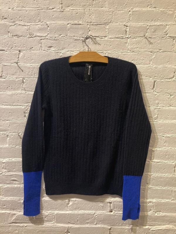 Naadam Studio: Navy Cashmere Sweater/Color block Size M