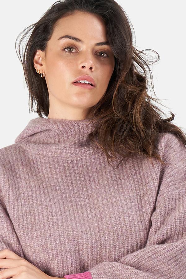 Naadam Women's NAADAM Cowl Neck Hoodie Sweater - Lilac combo