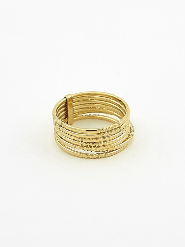 Ombre Claire 7 thin engraved rings - vermeil