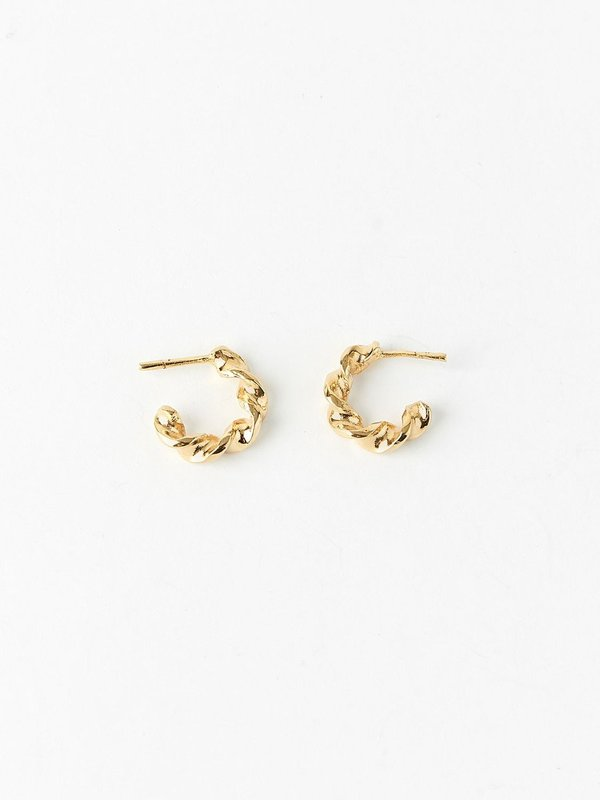 Ombre Claire mini rotation hoops - 24 carat gold