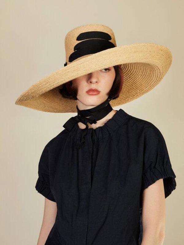 Lola Hats Espartina Hat - Straw/Black Ribbon