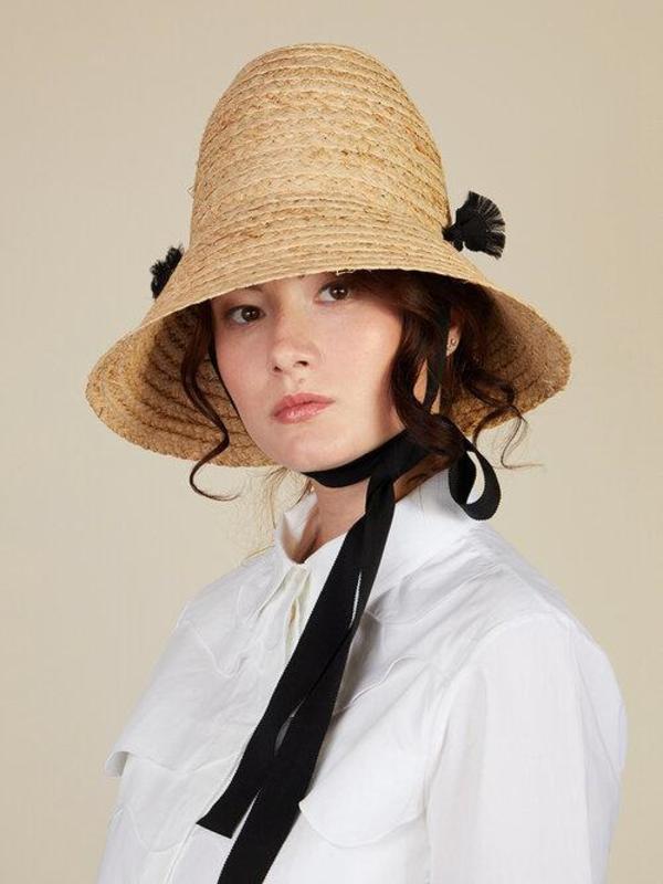 Eyelashes Raffia Hat