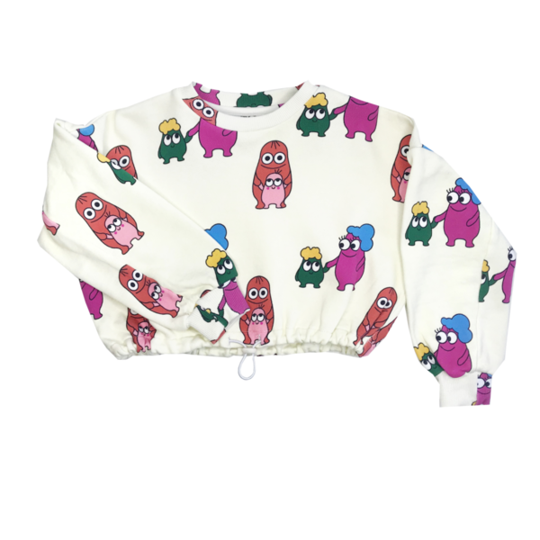 KIDS Banana Valentine Bleep Blops Crop Sweatshirt - white