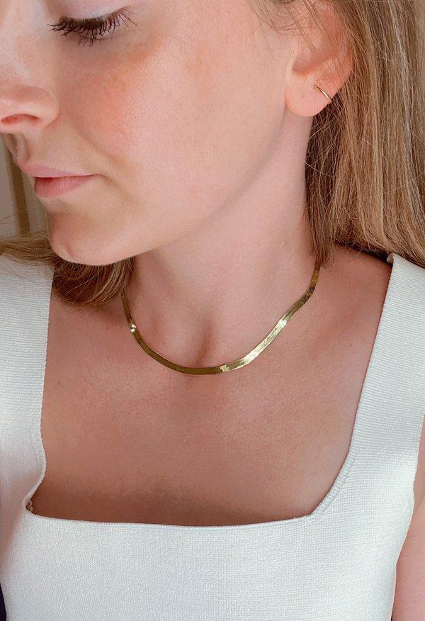 SS JEWELRY 0.5mm Herringbone Necklace - Gold