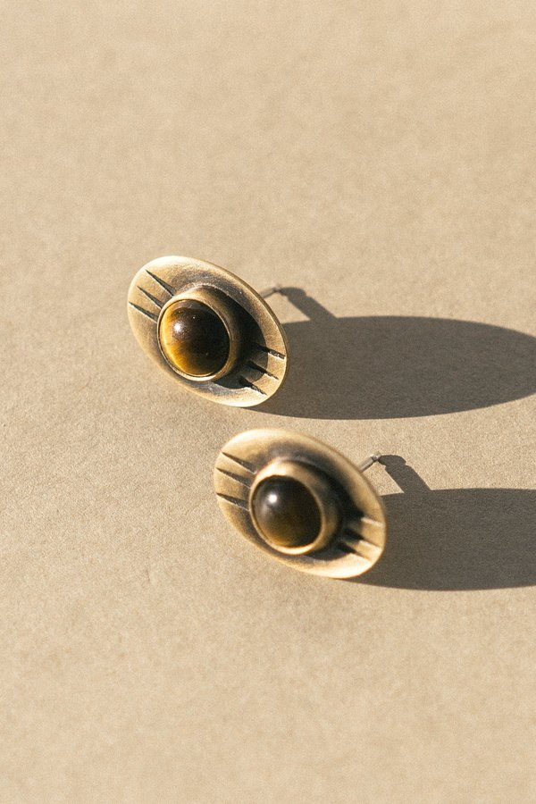 Rivet & Rise Brass And Tiger's Eye Stud Earrings