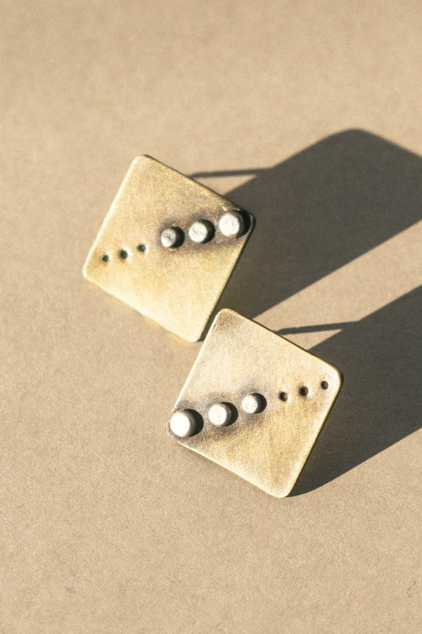 Rivet & Rise Raster Earrings - Brass
