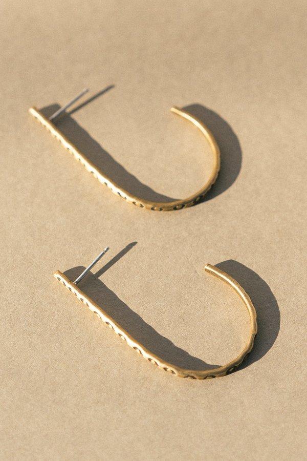 Rivet & Rise Stamped J Hoop Earrings - Brass