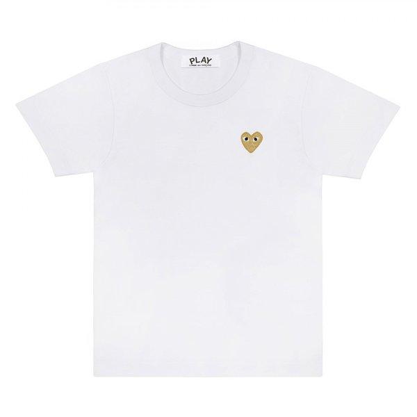 Comme des Garçons Heart Logo Tee - White/Gold