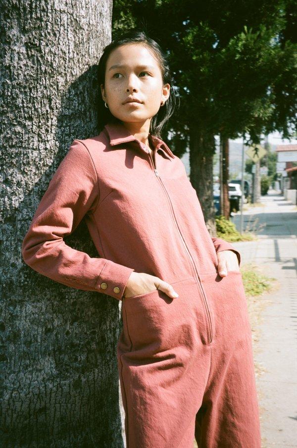 sample rafa jumpsuit - small - saffron twill