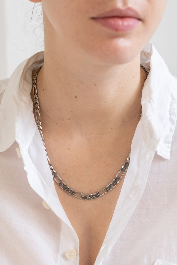 Vintage Heavy Figaro Necklace - Sterling Silver
