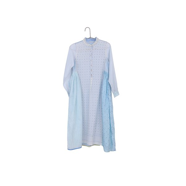 Injiri Pieced Long Sleeve Maxi Dress - Blue