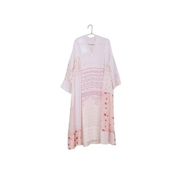 Injiri Pieced Long Sleeve Maxi Dress - Pink
