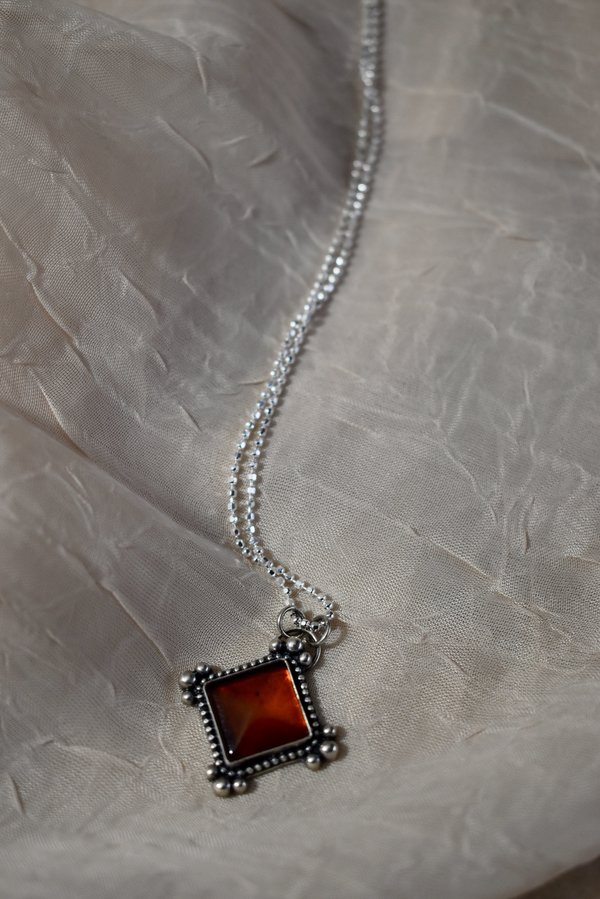 Blue & Blue Baltic Amber Pyramid Necklace
