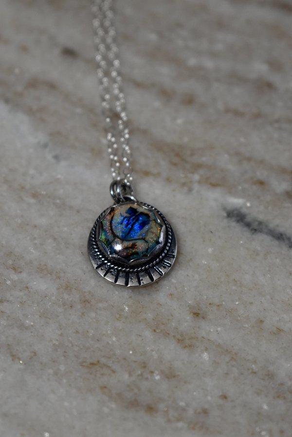 Blue & Blue Monarch Opal Round Necklace