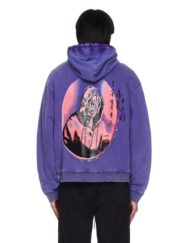 99% IS- We Don't Care Printed Hoodie - Purple