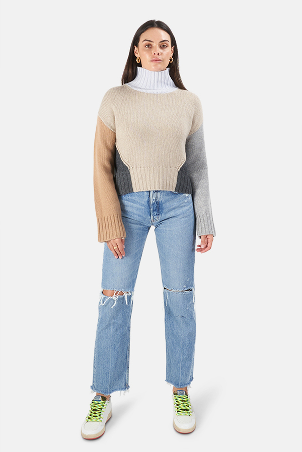 Women's NAADAM Colorblocked Crop Turtleneck Sweater in Oatmeal Combo, Size XS