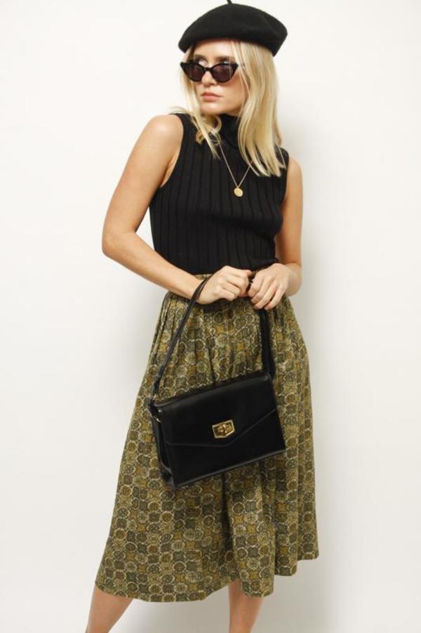 Vintage 60's Skirt - Moss Print