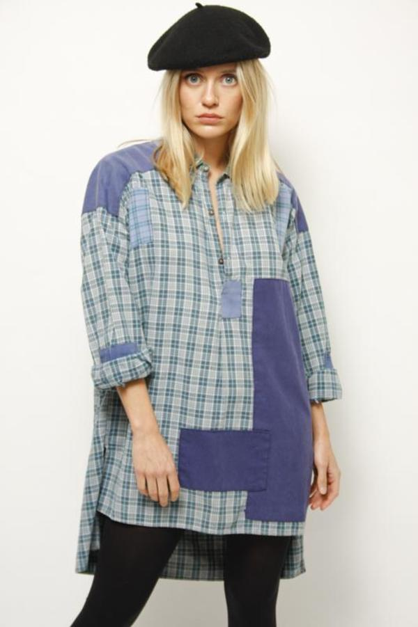 Vintage French Reworked Plaid Patchwork Shirt