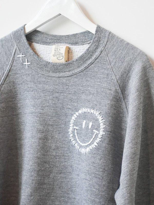 Vintage Happy Face  Sweatshirt - Grey
