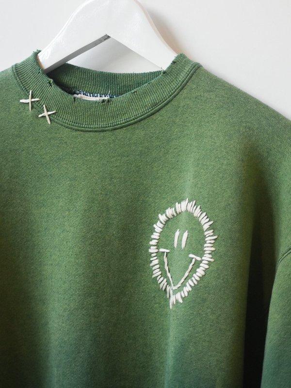 Vintage Happy Face Sweatshirt - Moss Fade