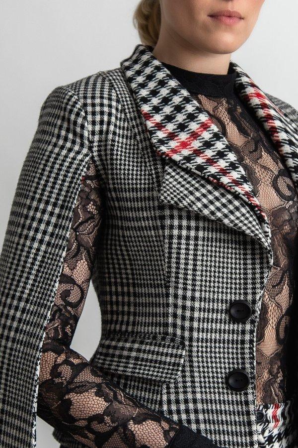 Rakan Cape Sleeve Suit Jacket - Prince Of Wales Check