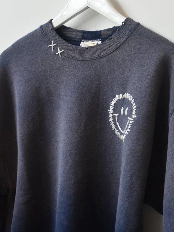 Vintage Happy Face Sweatshirt - Blue Wash