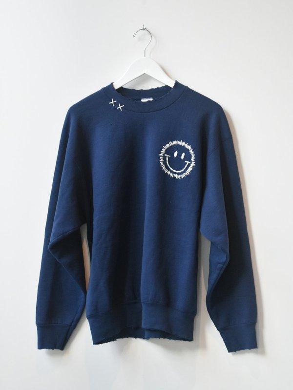 Vintage Happy Face Sweatshirt - Navy