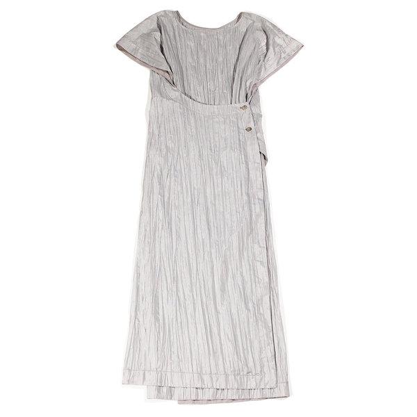 Lorod Asymmetrical Wrap Dress - Tin