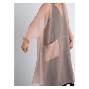 KAAREM Organza Silk Giang Bi Drop Sleeve Pocket Dress - Rose