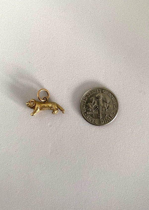 Vintage 3D Lion Charm - 9c Yellow Gold