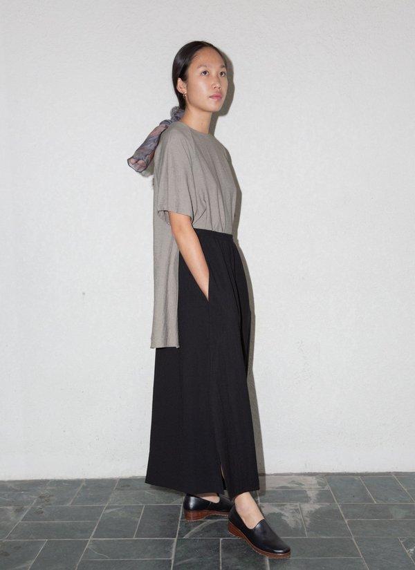 KAAREM Tu Sa Wide Leg Split Leg Pocket Pant w/ Elastic - Black