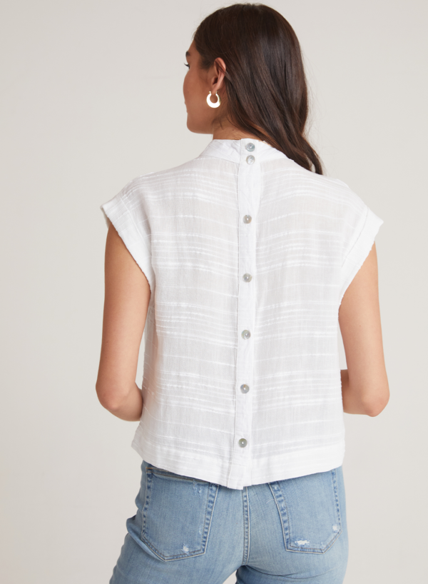 Bella Dahl Cap sleeve Button Back Blouse - White