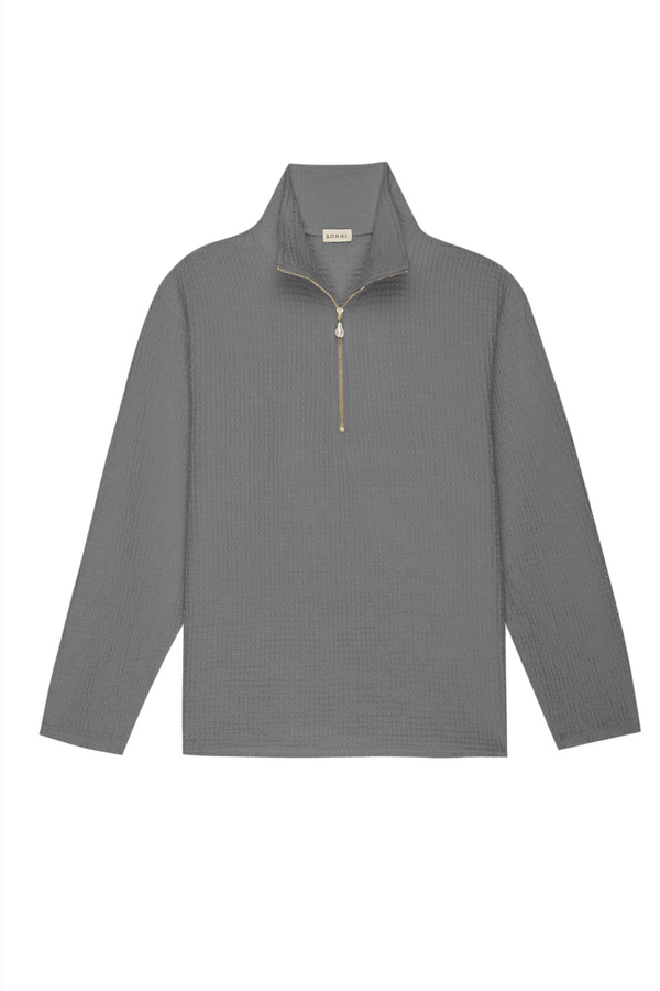 Donni. Waffle 1/2 Zip Pullover - Fog